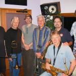 Seawind Horns & Steve Vai (from left, Bill Reichenbach, Charlie Loper, Vai, Jerry Hey, Gary Grant, Larry, Dan Higgins), April 2004