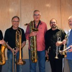 """Feb 2014 - Seawind recording Larry Williams' horn arrangement for the new song """"Your Love"""" by Bob Wilson. Larry Williams, Bill Riechenbach (trombone), Kim Hutchcroft (tenor and baritone sax), Garry Grant (trumpet), Larry Hall (trumpet)."""